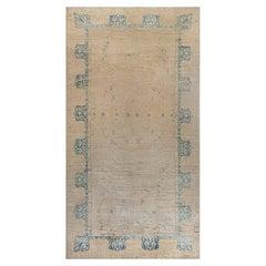 Vintage Indigo Blue, Beige Indian Handmade Wool Carpet