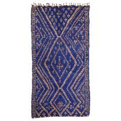 Vintage Indigo Blue Beni M'Guild Moroccan Rug with Modern Boho Tribal Style