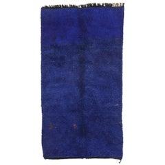 Vintage Indigo Blue Beni M'Guild Moroccan Rug with Modern Tribal Style