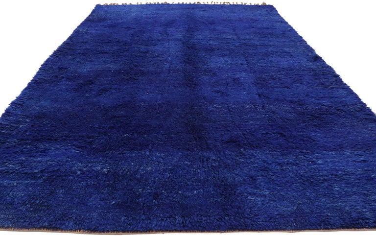 Expressionist Vintage Indigo Blue Beni Mrirt Moroccan Rug, Berber Shag Rug with Abstract Style For Sale
