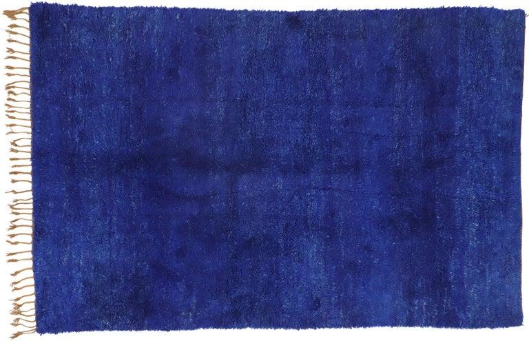 Vintage Indigo Blue Beni Mrirt Moroccan Rug, Berber Shag Rug with Abstract Style For Sale 2