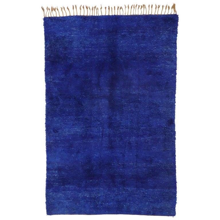 Vintage Indigo Blue Beni Mrirt Moroccan Rug, Berber Shag Rug with Abstract Style For Sale