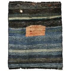 Vintage Indigo Blue Minimalist Tribal Rug