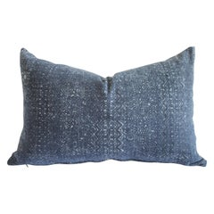 Vintage Indigo Faded Blue Batik Lumbar Pillow