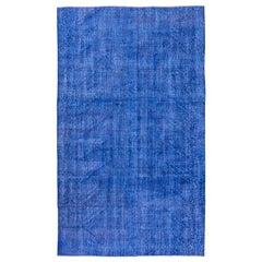Vintage Indigo Overdyed Sparta Wool Rug, Shabby Chic