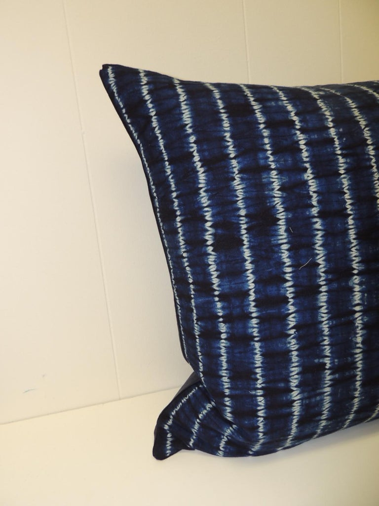 Vintage Indigo and White African Resist-dye Textile Decorative Pillow Square pillow with textured navy blue backing and small dark blue decorative trim all around made from the same vintage textile. Decorative pillows handmade and designed in the