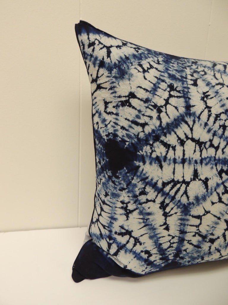 Vintage Indigo and White African Resist-dye Textile Decorative Pillow Square pillow with textured soft grey backing and small dark blue decorative trim all around made from the same vintage textile. Decorative pillows handmade and designed in the