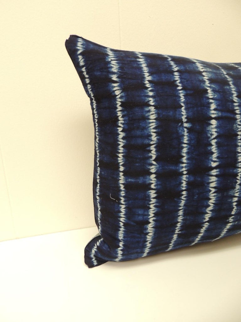 Vintage Indigo and White African Resist-dye Textile Decorative Bolster Pillow Square pillow with textured silvery blue backing and small dark blue decorative trim all around made from the same vintage textile. Decorative lumbar pillows handmade and