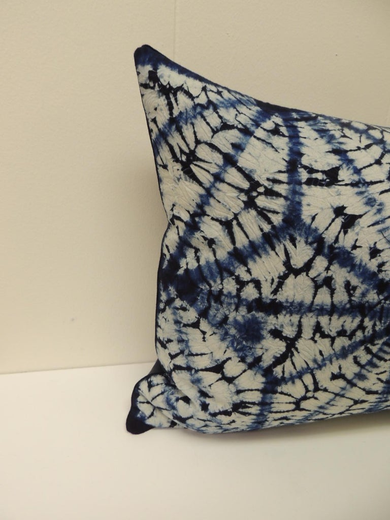 Vintage Indigo and White African Resist-dye Textile Decorative Bolster Pillow Square pillow with navy blue linen backing and small dark blue decorative trim all around made from the same vintage textile. Decorative pillows hand-made and designed in