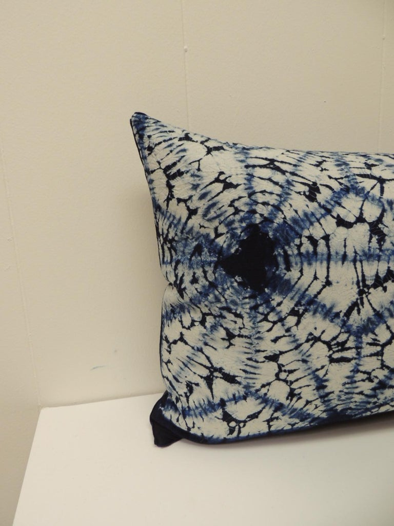 Vintage Indigo and White African Resist-dye Textile Decorative Pillow Square pillow with navy blue linen backing and small dark blue decorative trim all around made from the same vintage textile. Decorative pillows handmade and designed in the USA.