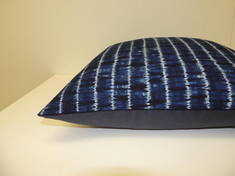 Tribal Vintage Indigo and White African Resist-dye Textile Decorative Pillow For Sale