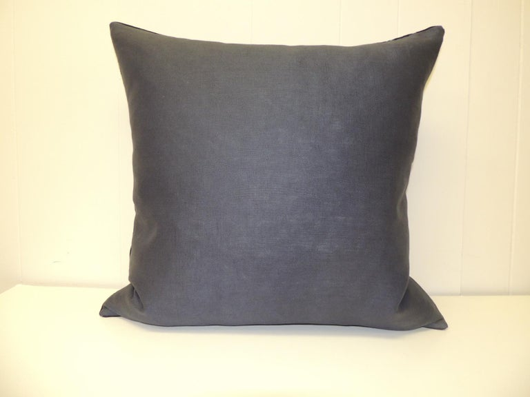 Nigerian Vintage Indigo and White African Resist-dye Textile Decorative Pillow For Sale