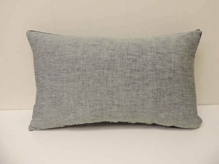 Nigerian Vintage Indigo and White African Resist-Dyed Textile Decorative Pillow For Sale