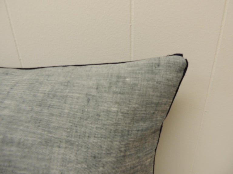 Hand-Crafted Vintage Indigo and White African Resist-Dyed Textile Decorative Pillow For Sale