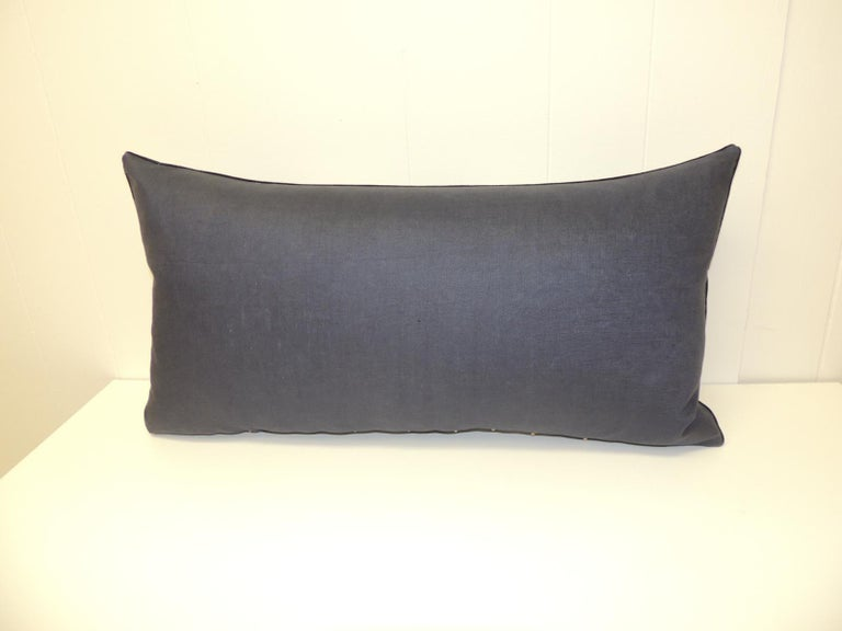 Hand-Crafted Vintage Indigo and White African Resist-dye Textile Decorative Pillow For Sale