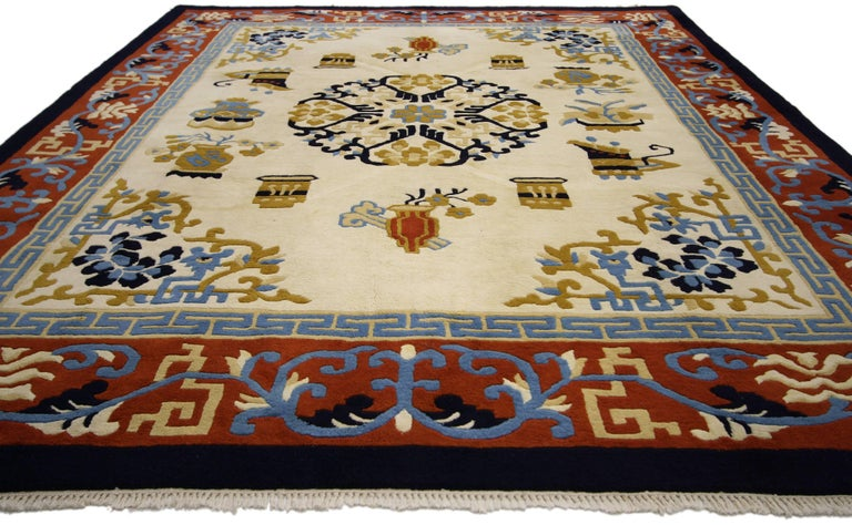 Vintage Indo Chinese Art Deco Style Rug For Sale At 1stdibs
