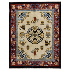 Vintage Indo-Chinese Art Deco Style Rug