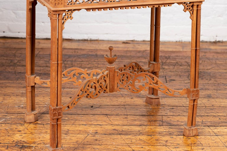 Vintage Indonesian Carved Side Table with Open Fretwork and Cross Stretcher For Sale 5