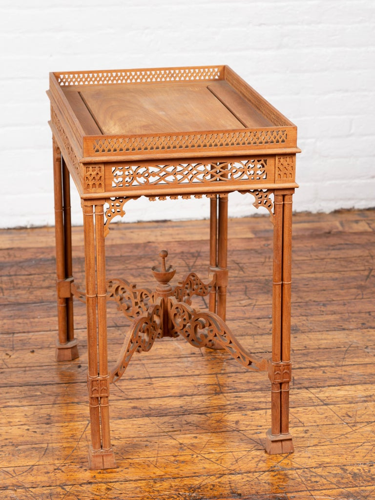 Vintage Indonesian Carved Side Table with Open Fretwork and Cross Stretcher For Sale 6