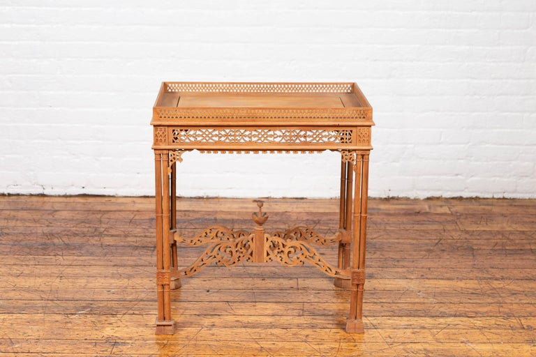 Vintage Indonesian Carved Side Table with Open Fretwork and Cross Stretcher For Sale 7