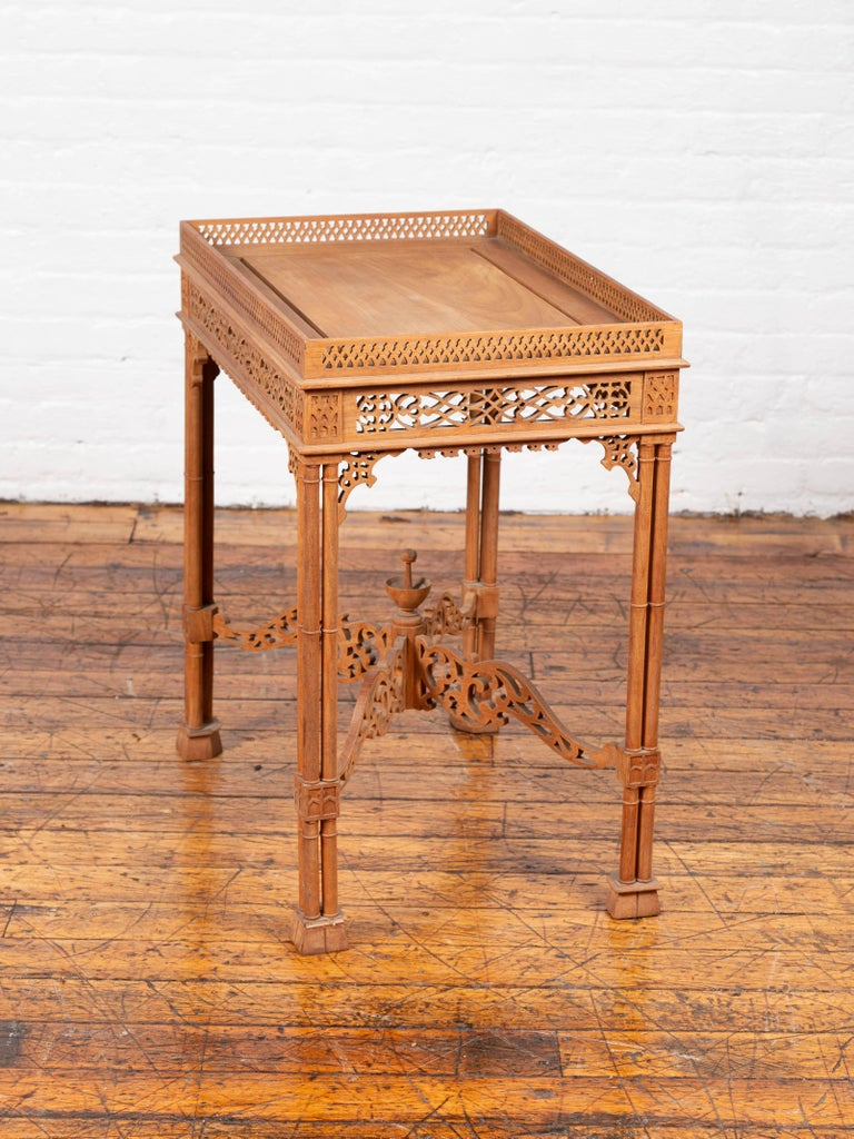 Vintage Indonesian Carved Side Table with Open Fretwork and Cross Stretcher For Sale 8