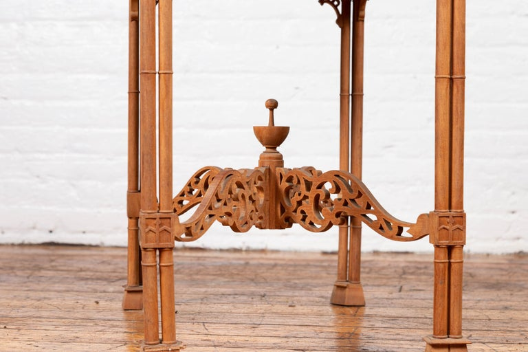 Vintage Indonesian Carved Side Table with Open Fretwork and Cross Stretcher For Sale 9