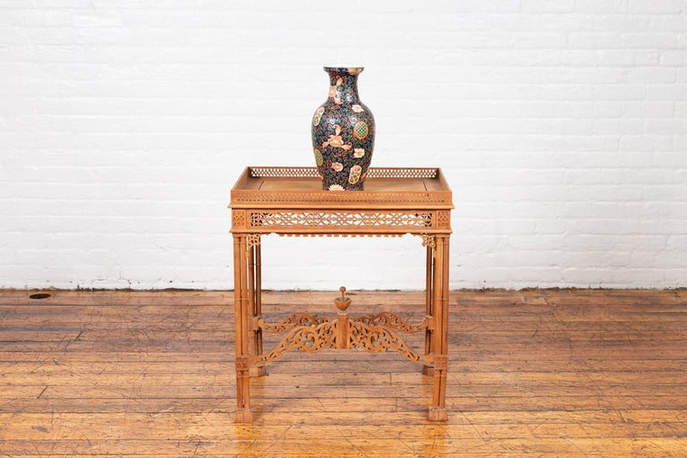 Vintage Indonesian Carved Side Table with Open Fretwork and Cross Stretcher For Sale 10