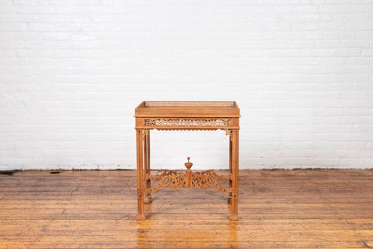 Vintage Indonesian Carved Side Table with Open Fretwork and Cross Stretcher For Sale 11