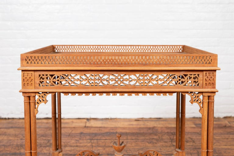 20th Century Vintage Indonesian Carved Side Table with Open Fretwork and Cross Stretcher For Sale