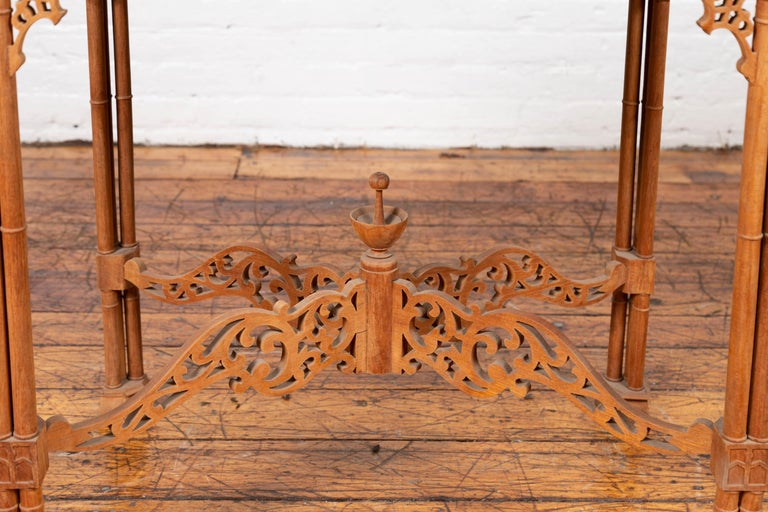 Vintage Indonesian Carved Side Table with Open Fretwork and Cross Stretcher For Sale 1