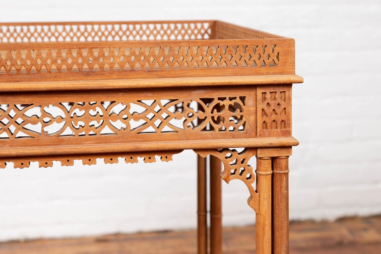 Vintage Indonesian Carved Side Table with Open Fretwork and Cross Stretcher For Sale 2