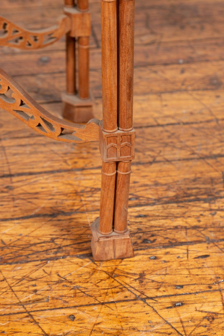 Vintage Indonesian Carved Side Table with Open Fretwork and Cross Stretcher For Sale 3