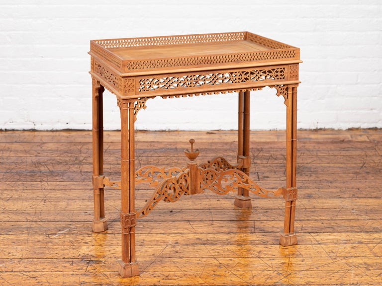 Vintage Indonesian Carved Side Table with Open Fretwork and Cross Stretcher For Sale 4