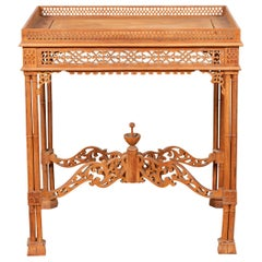 Vintage Indonesian Carved Side Table with Open Fretwork and Cross Stretcher