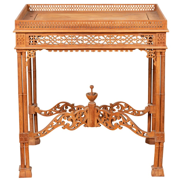 Vintage Indonesian Carved Side Table with Open Fretwork and Cross Stretcher For Sale