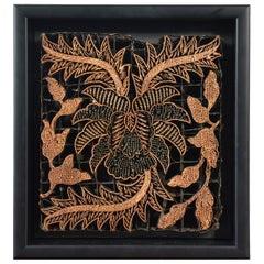 Vintage Indonesian Copper Batik Textile Printing Block Mounted in Shadow Box