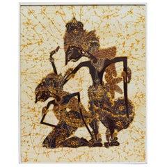 Vintage Indonesian Handmade Batik Painting on Cotton Depicting Ram and Sita