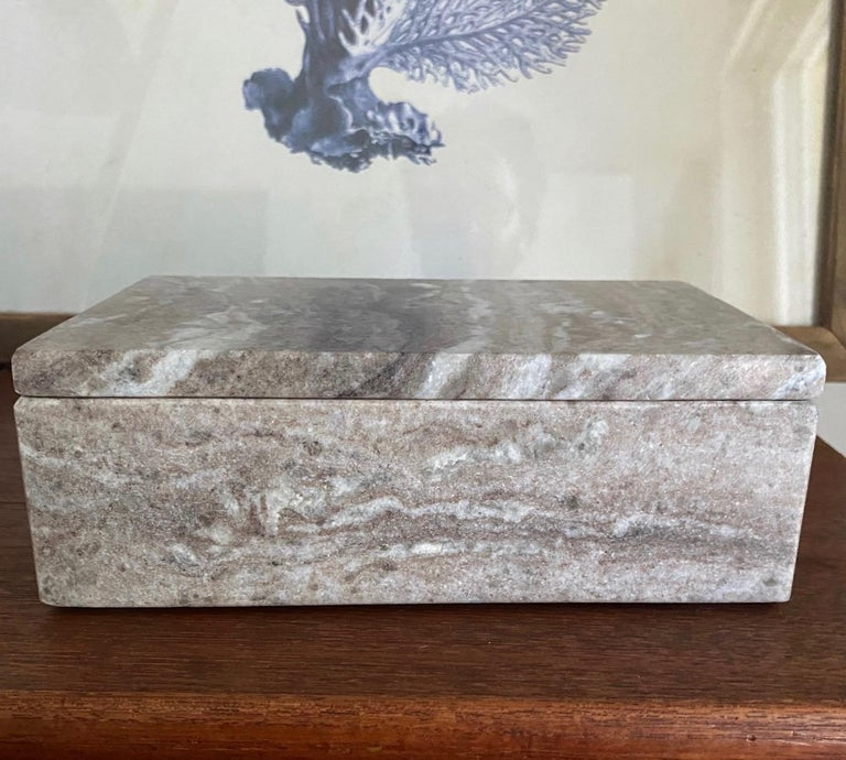 Organic Modern Vintage Indonesian Lidded Box in Exotic Marble, c. 2005 For Sale