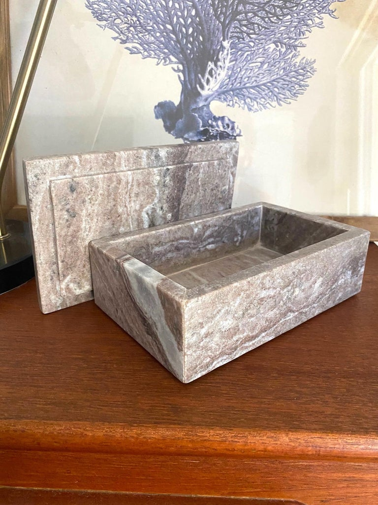 Contemporary Vintage Indonesian Lidded Box in Exotic Marble, c. 2005 For Sale
