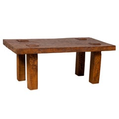 Vintage Indonesian Rustic Wooden Coffee Table with Square Legs and Raised Joints