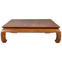Vintage Indonesian Teak Coffee Table with Natural Bleached Patina and Chow Legs