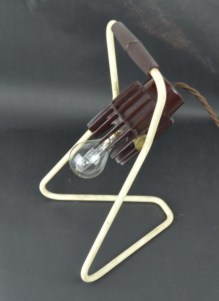 Metal Vintage Industrial Adjustable Desk Lamp, Belgian, Mid-20th Century For Sale