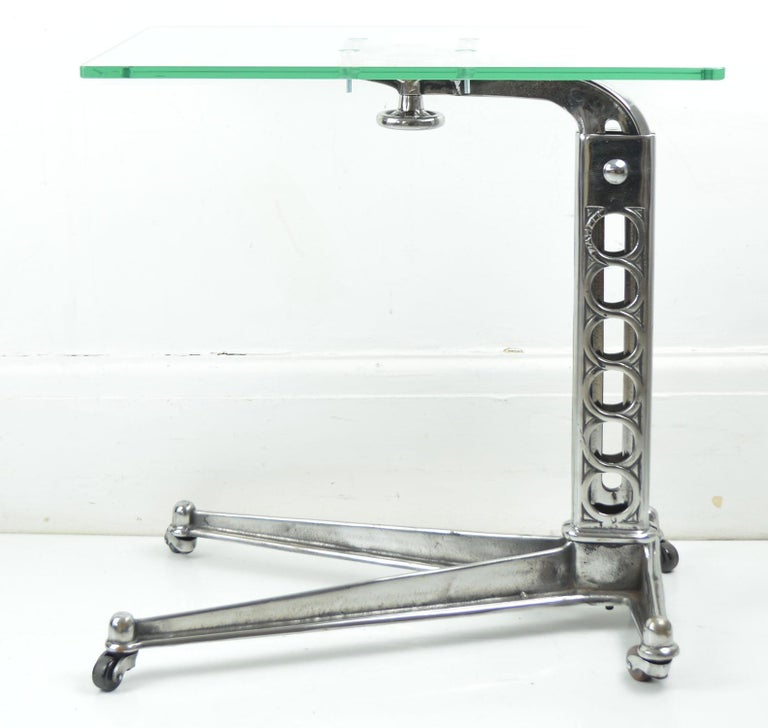 Polished Vintage Industrial Adjustable High to Low Work Table, English, 1920s For Sale
