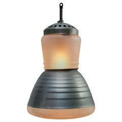 Vintage Industrial Adolf Meyer Frosted Mercury Glass Pendant Lamp for Zeiss Ikon