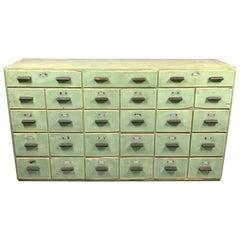 Vintage Industrial All-Wood Filling Cabinet, 1920s