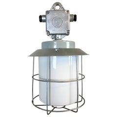 Vintage Industrial Aluminium Lamp with Milk Glass, 1970s