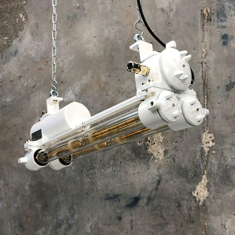 Vintage Industrial Aluminum and Brass LED Flameproof Ceiling Strip Light, White For Sale 4