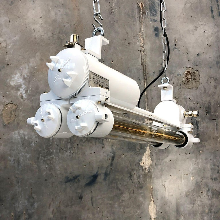 Vintage Industrial Aluminum and Brass LED Flameproof Ceiling Strip Light, White For Sale 12