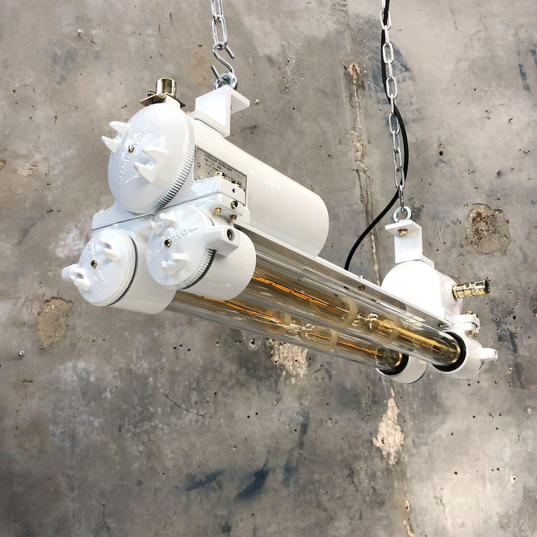 Vintage Industrial Aluminum and Brass LED Flameproof Ceiling Strip Light, White For Sale 13