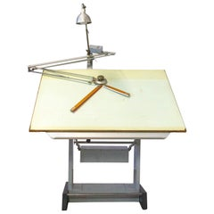 Vintage Industrial Architect's Drafting Table Sautereau c.1960 or Kitchen Island